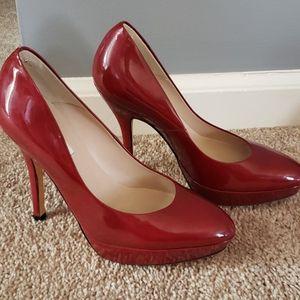 LK Bennett red burgundy stacked heel pump 37.5